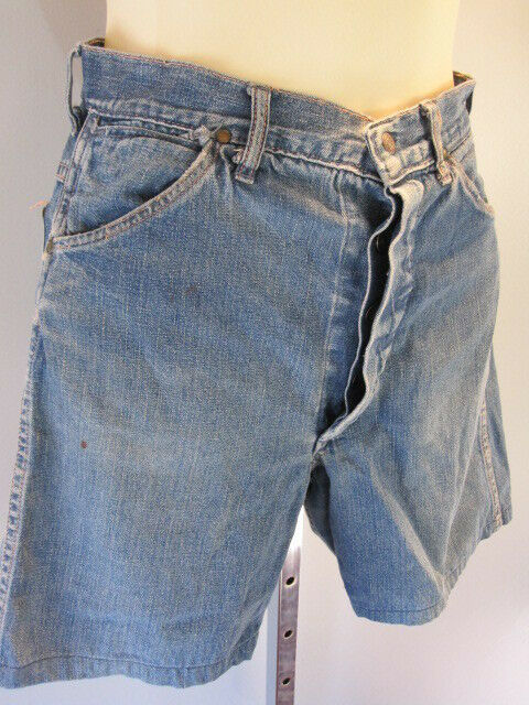 vintage 1950s 60s donut hole blue jeans shorts high waist rise cut off mod denim ebay. Black Bedroom Furniture Sets. Home Design Ideas