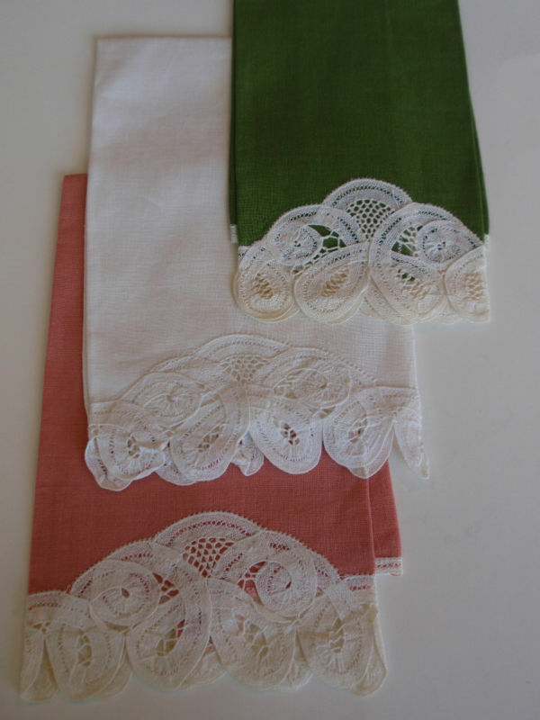 Vintage Set 3 Hand Embroidered Linen Lace Tea Finger