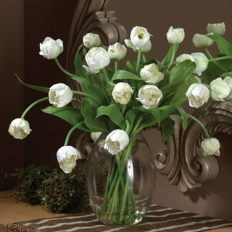 Artificial White Tulips In Glass Vase