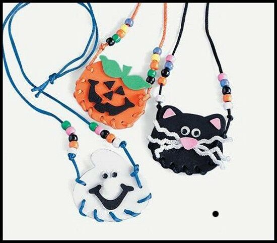 halloween necklace lacing craft kit for kids abcraft ebay. Black Bedroom Furniture Sets. Home Design Ideas