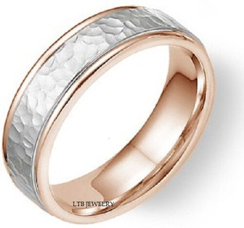 MENS 14K WHITE AND ROSE GOLD WEDDING BANDS HAMMERED FINISH 5 5MM