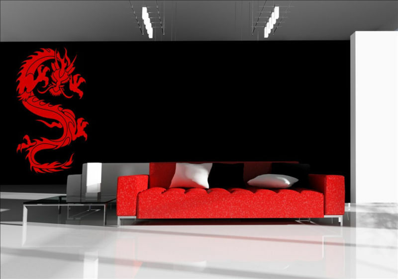 Oriental chinese dragon vinyl stickers wall decorations for Asian wall mural