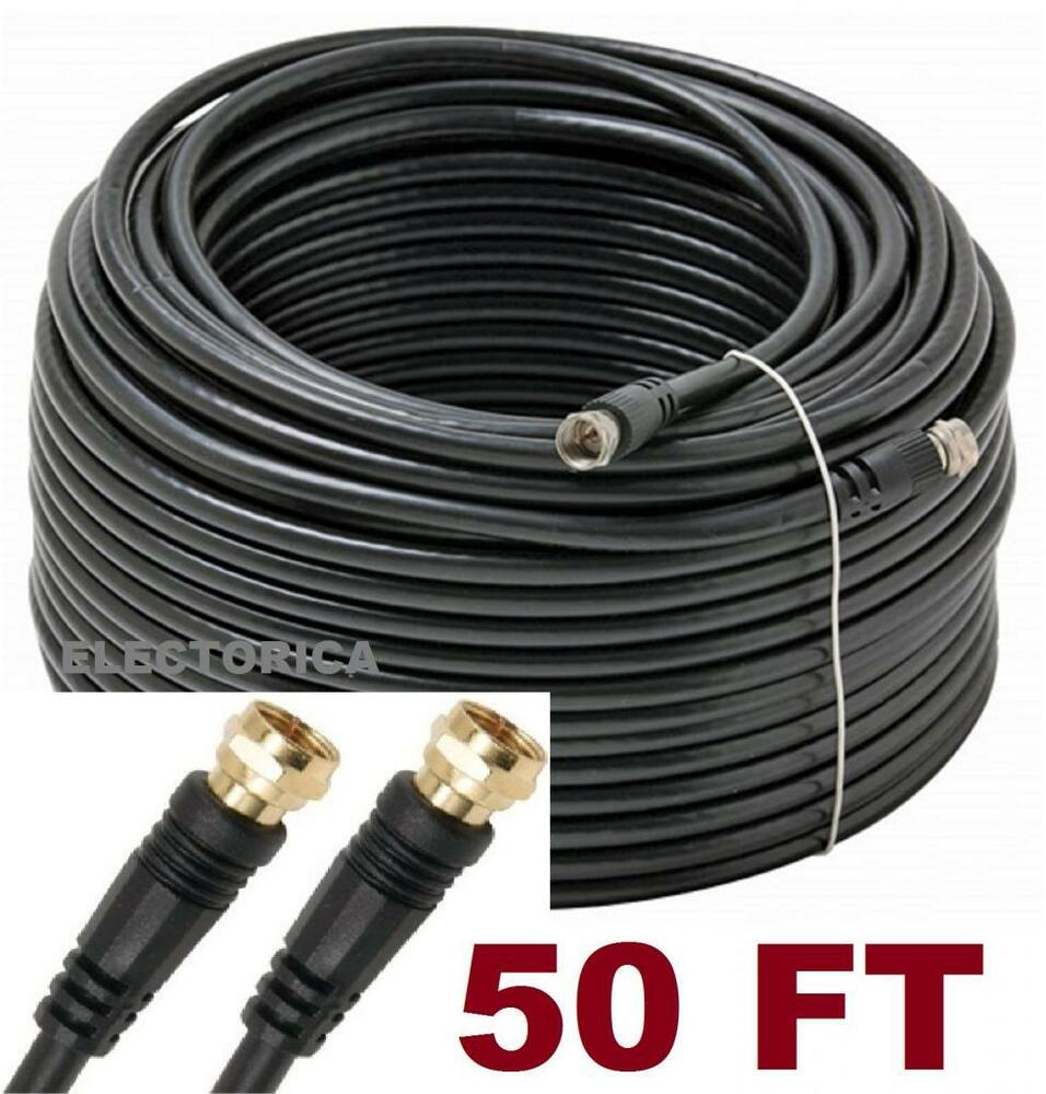 50 FT RG-6 SATELLITE COAX CABLE RG6 COAXIAL ANTENNA OTA HD TV BELL ...