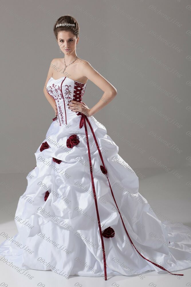 White red wedding dress bridal go wn custom plus siz e ebay for Unique black and white wedding dresses