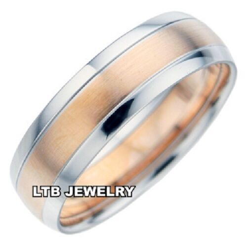 10K TWO TONE GOLD MENS WEDDING BANDSROSE GOLD 7MM SATIN FINISH WEDDING RINGS