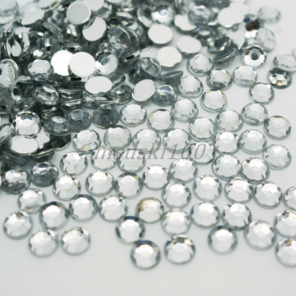 1000 crystal clear flat back acrylic 5mm rhinestone gem ebay for Plastic gems for crafts