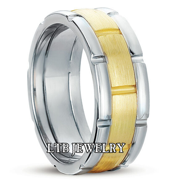 2 Tone Men Bands: 18K TWO TONE GOLD MENS WEDDING BAND RING 8MM