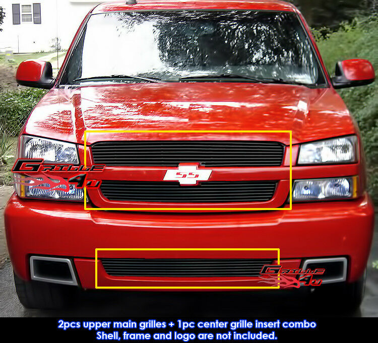 for 03 05 chevy silverado 1500 ss black billet grille combo ebay. Black Bedroom Furniture Sets. Home Design Ideas