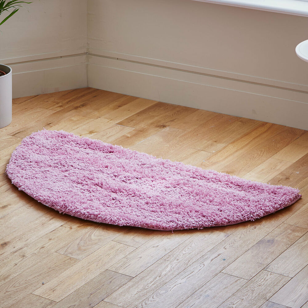 Modern Thick Pile Half Moon Pink Shaggy Rugs 140x70 Cm Ebay