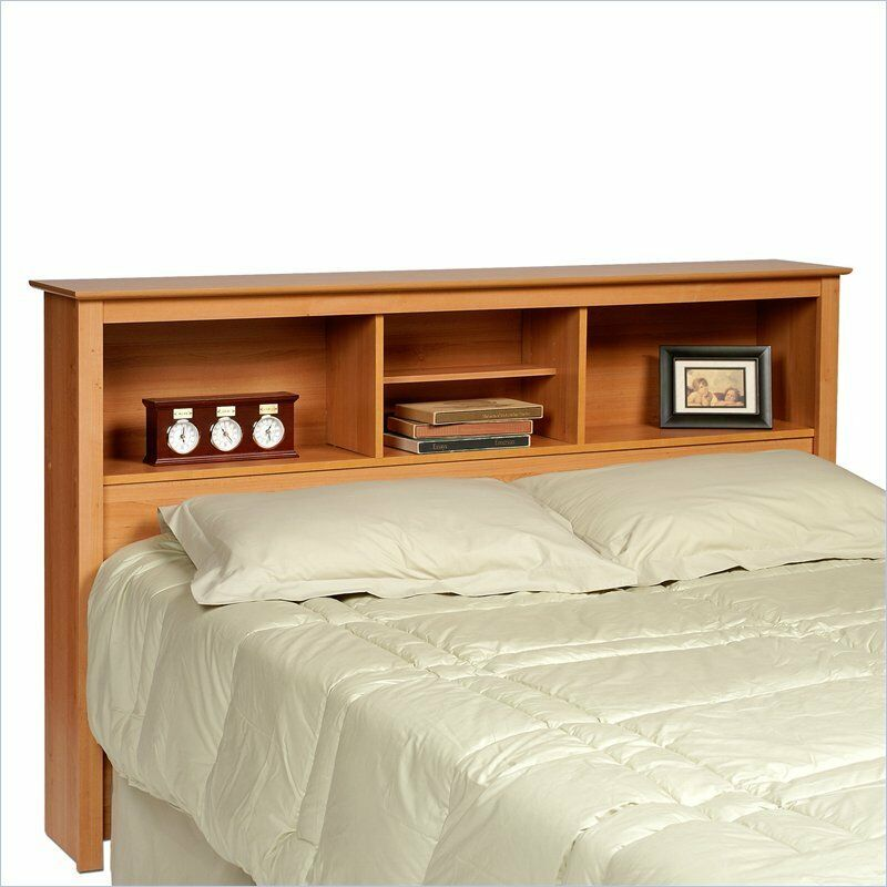 new maple queen size storage bookcase headboard ebay. Black Bedroom Furniture Sets. Home Design Ideas