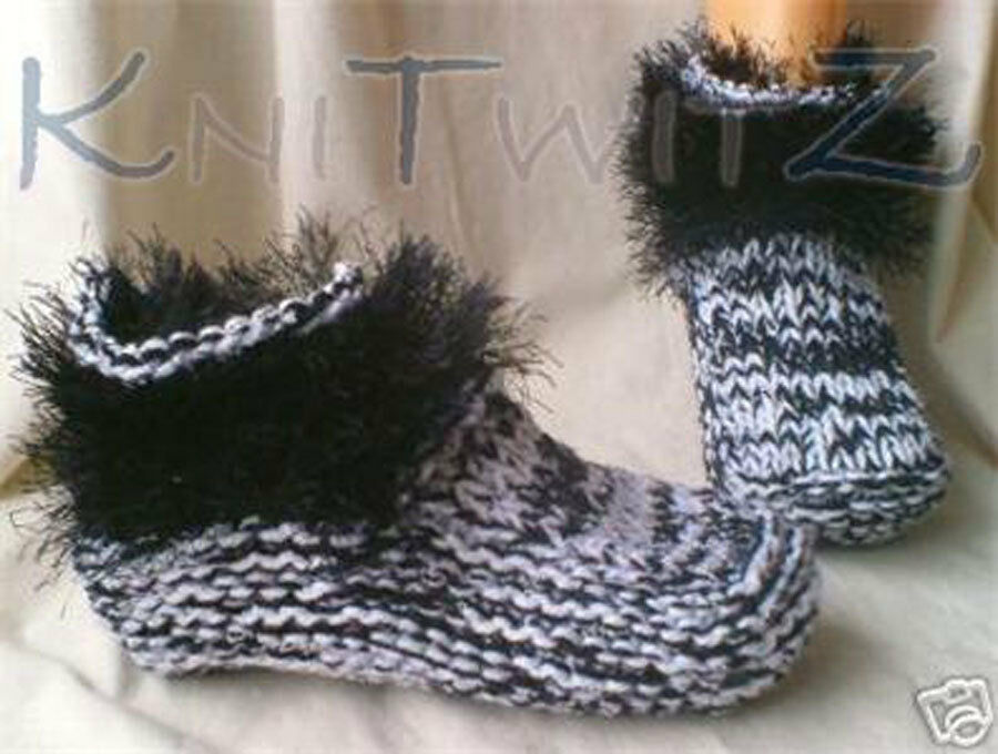 Hand Knitting Patterns Instructions : Hand knit dorm boot knitting pattern instructions deluxe