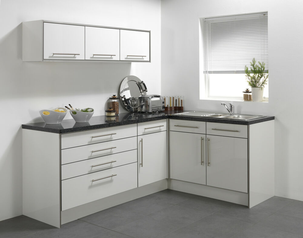 White high gloss vinyl kitchen cabinet doors ebay for Kitchen units
