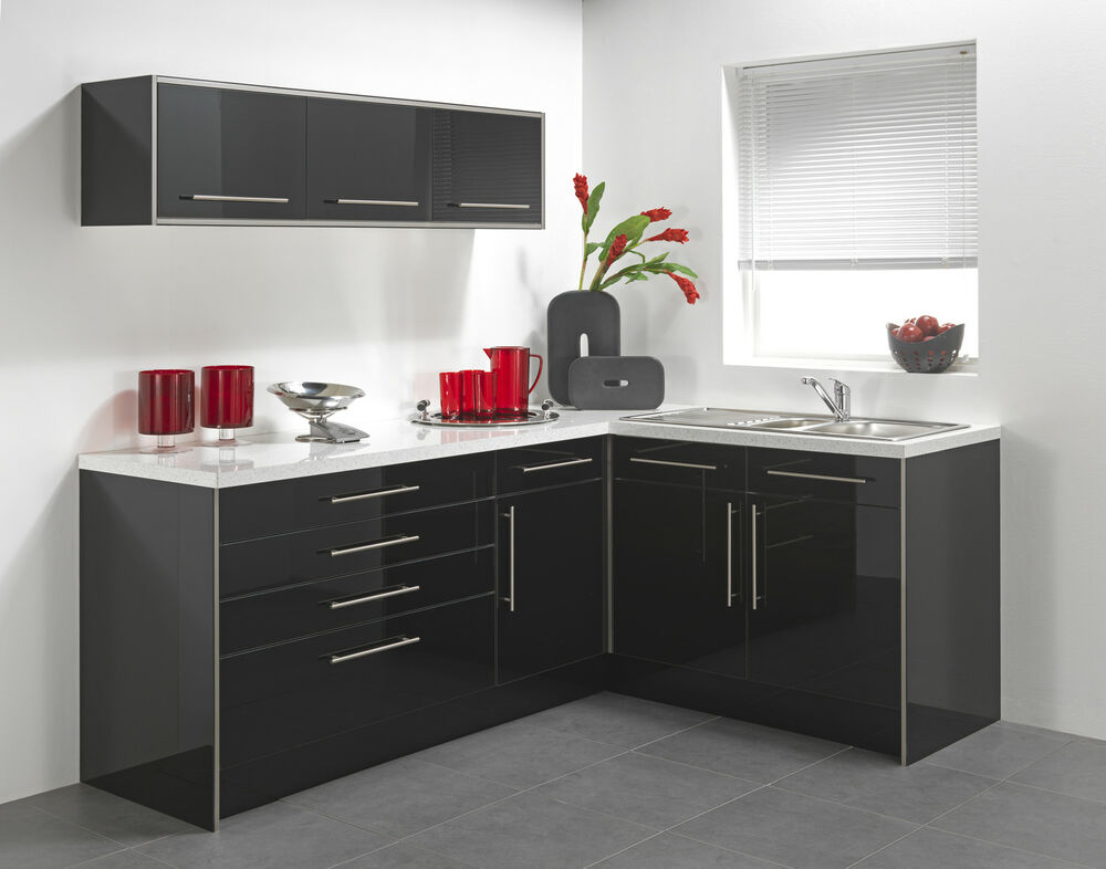 Black high gloss vinyl kitchen cabinet doors ebay for Black cabinet with doors