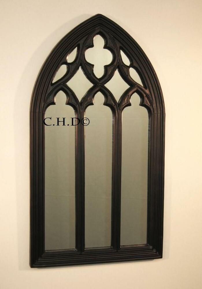 Black gothic arched church window mirror shabby chic ebay for Window arch wall decor