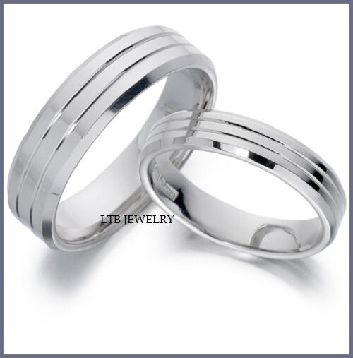 His hers 14k white gold matching wedding bands rings for Matching white gold wedding rings