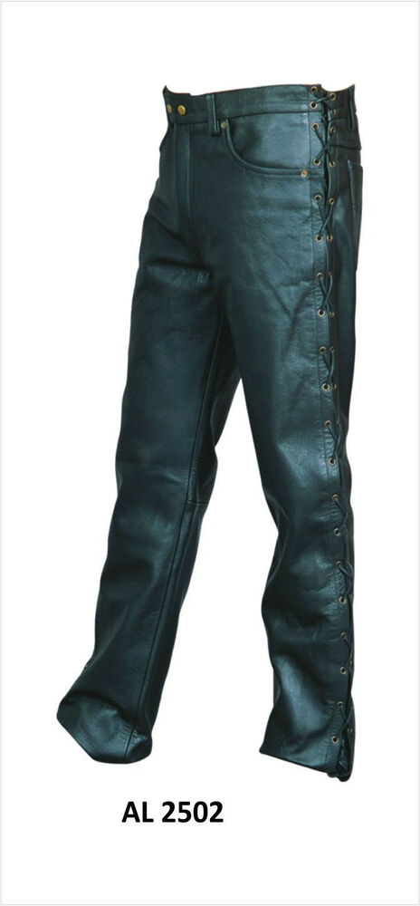 Mens Black Buffalo Leather Motorcycle Pants w Side Lace