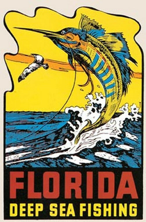 Florida deep sea fishing vintage style travel decal ebay for Best deep sea fishing in florida