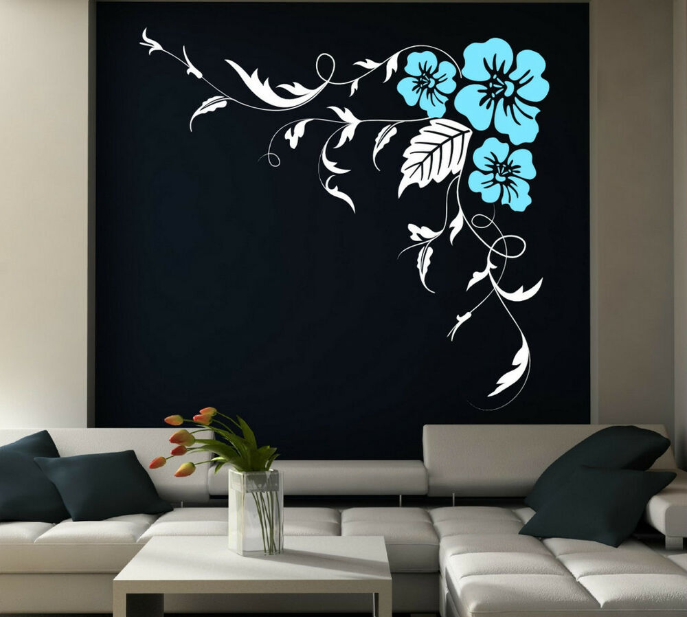 huge corner flowers giant floral vinyl stickers wall. Black Bedroom Furniture Sets. Home Design Ideas