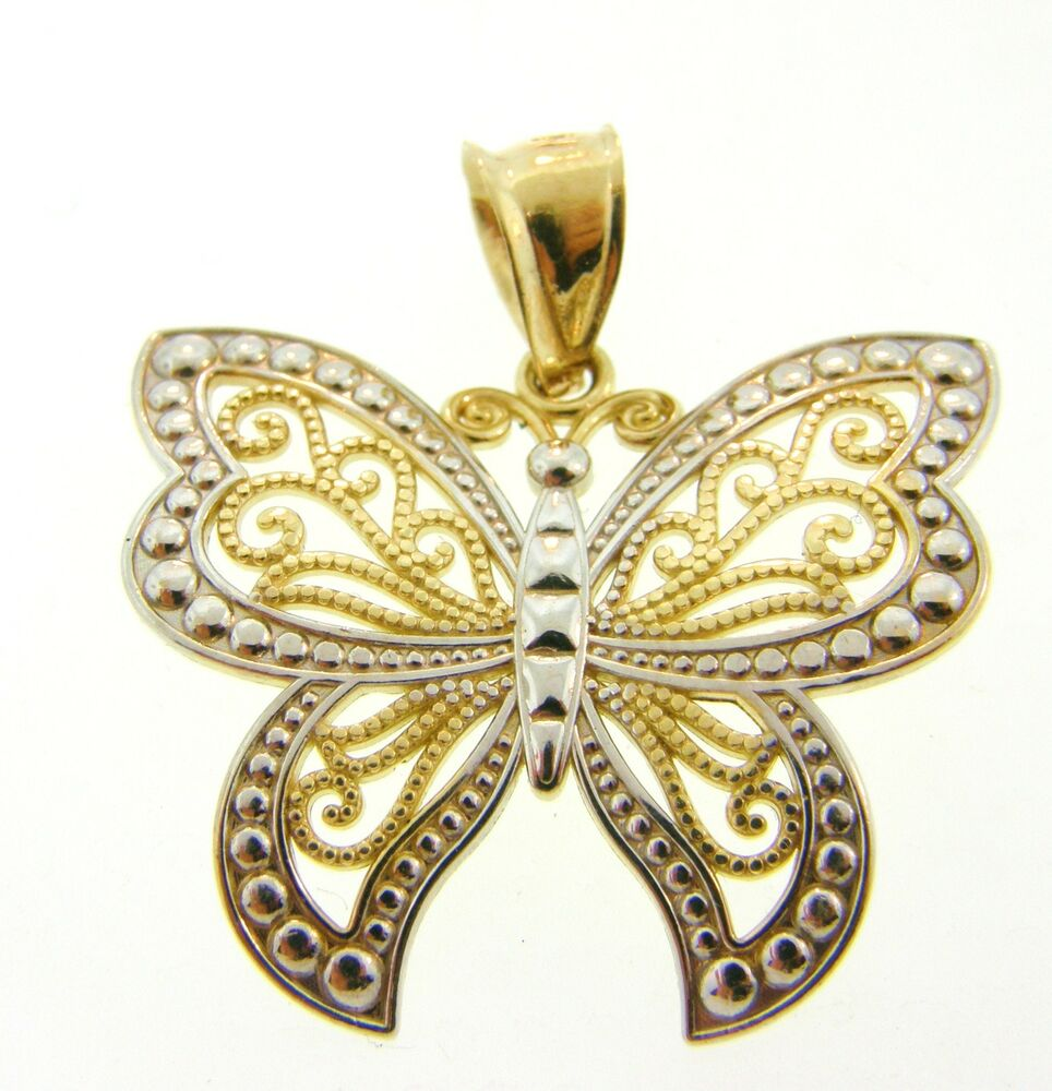 Gorgeous solid 14k gold butterfly pendant charm ebay for Inglewood jewelry and loan inglewood ca