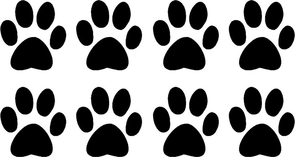 Set Of 8 Dog Paw Prints Decals 1 5 Quot Choose Color Ebay