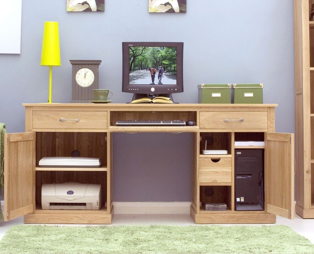 Mobel solid oak furniture large puter hideaway desk
