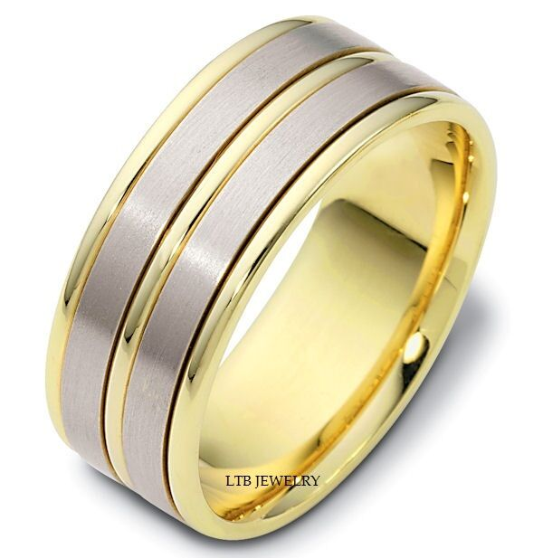 Two Tone Wedding Bands: MENS 10K TWO TONE SOLID GOLD WEDDING BANDS,SATIN FINISH