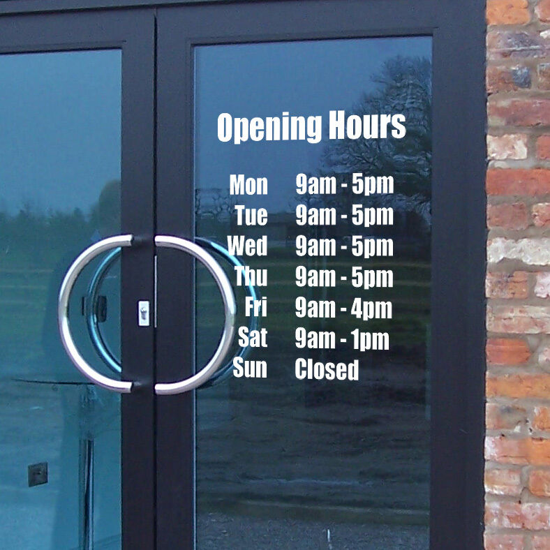 Opening hours times shop custom vinyl sign sticker for De signs