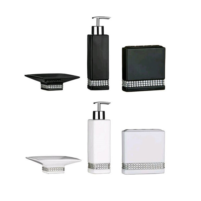Bathroom accessories set ceramic black white radiance for White bath accessories