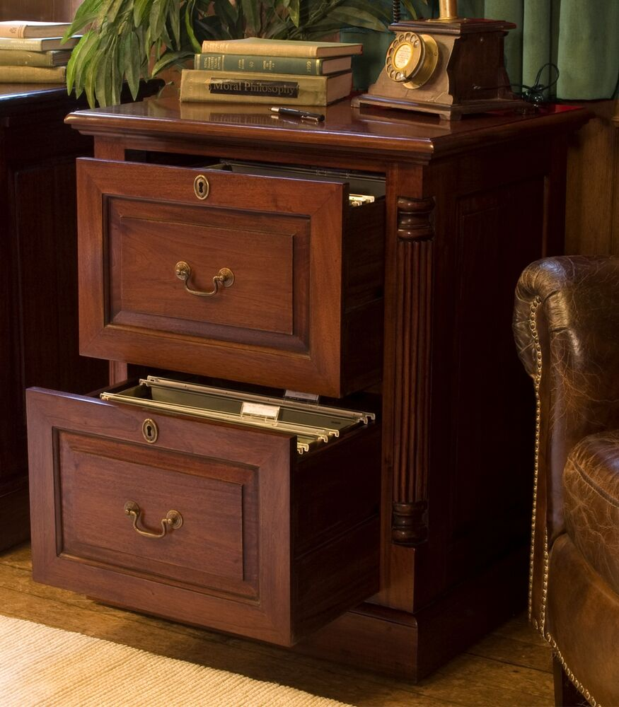 La Roque Solid Mahogany Office Furniture Two Drawer Filing Cabinet With Lock Ebay
