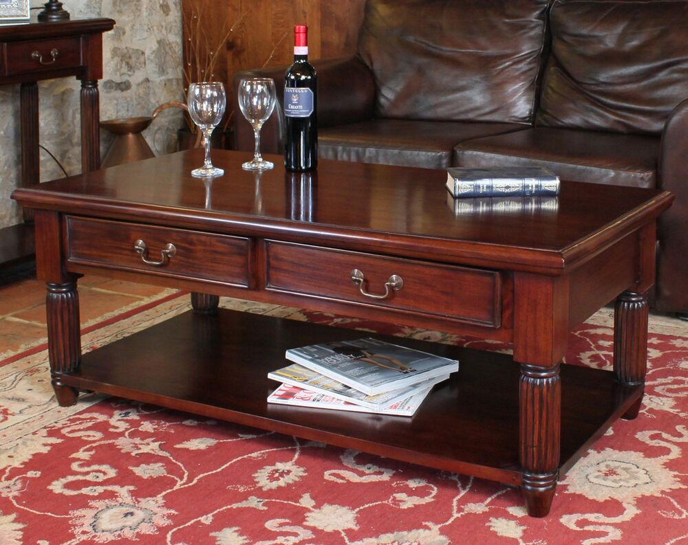 Details about la roque solid mahogany living room furniture storage coffee table with drawers