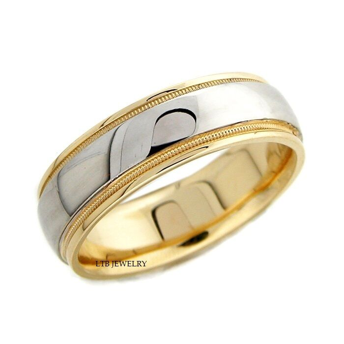 Mens 18k Two Tone Gold Wedding Band Ring Ebay