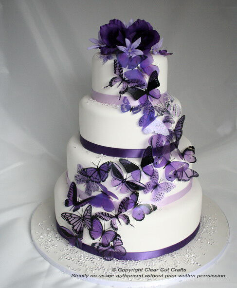 Purple Wedding Cake Ideas: 20 Mixed Purple Butterflies Great For Wedding Cakes