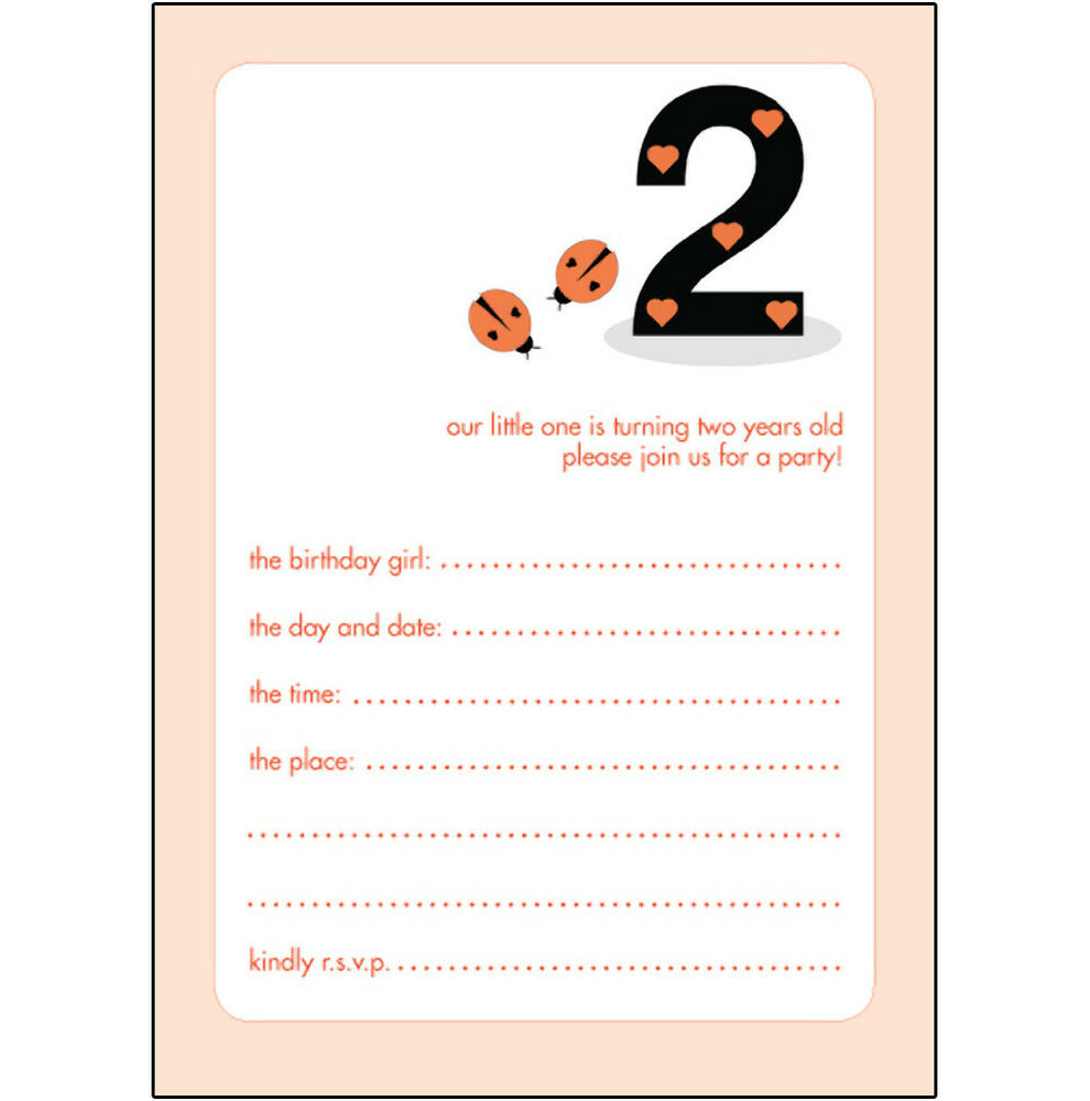 10 Childrens Birthday Party Invitations 2 Years Old Girl