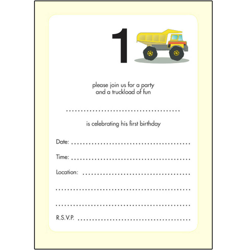 Details About 10 Childrens Birthday Party Invitations 1 Year Old Boy