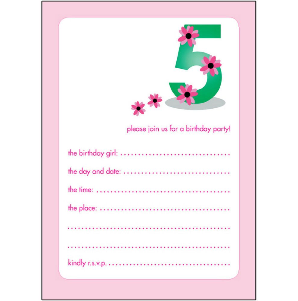 Details About 10 Childrens Birthday Party Invitations 5 Years Old Girl