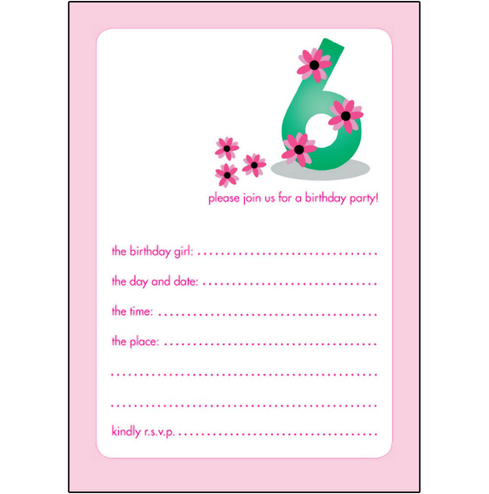 Details About 10 Childrens Birthday Party Invitations 6 Years Old Girl PRETTY BPIF 19 Pink