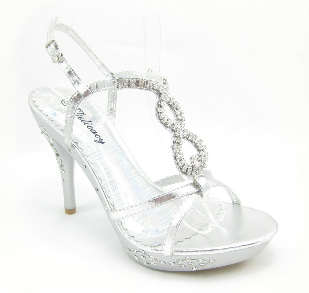 Silver high heels with rhinestones