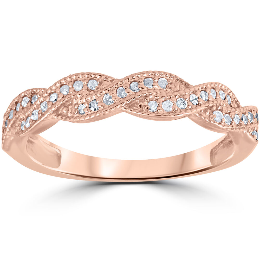 1 8ct pave diamond wedding ring 14k rose gold ebay. Black Bedroom Furniture Sets. Home Design Ideas