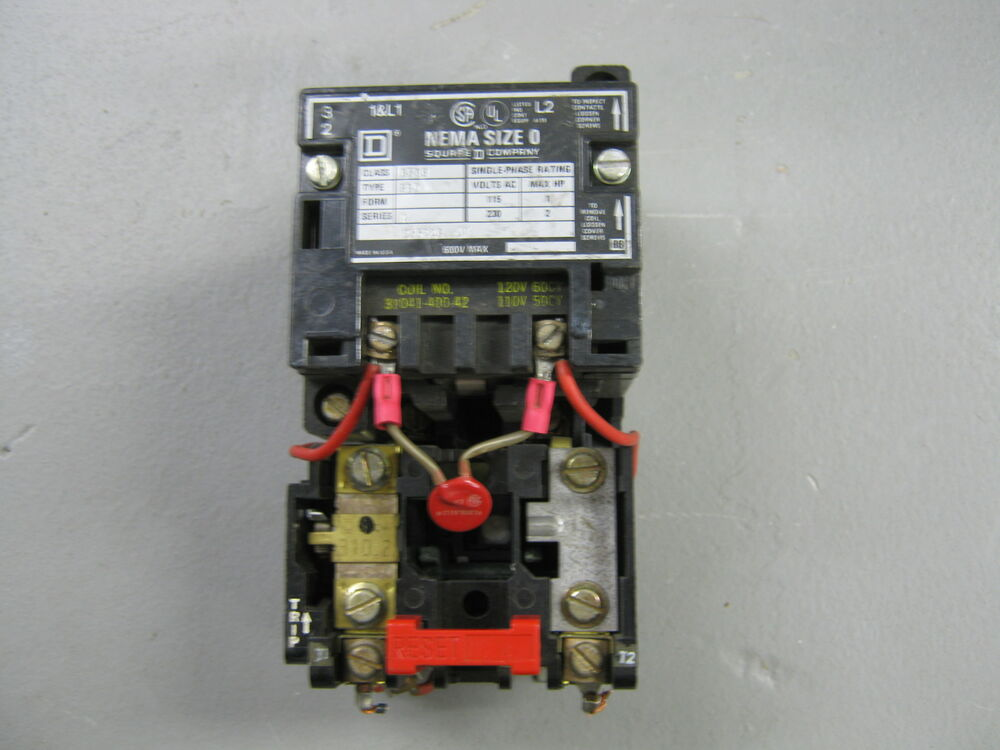 Square d starter size 0 8536 sb0 1 ebay for Square d motor disconnect switch