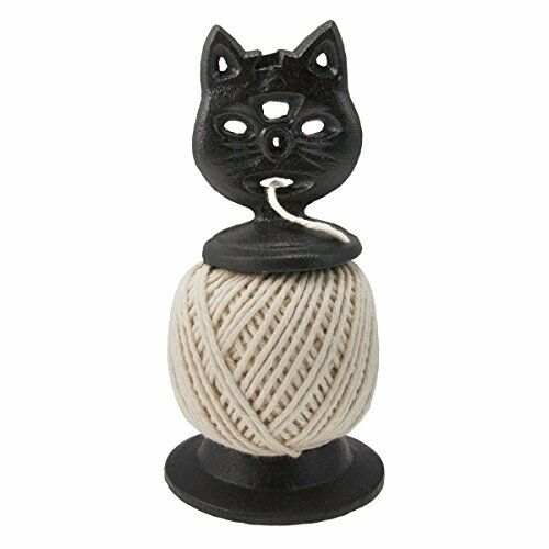 Cast Iron Cat Twine Holder With Twine