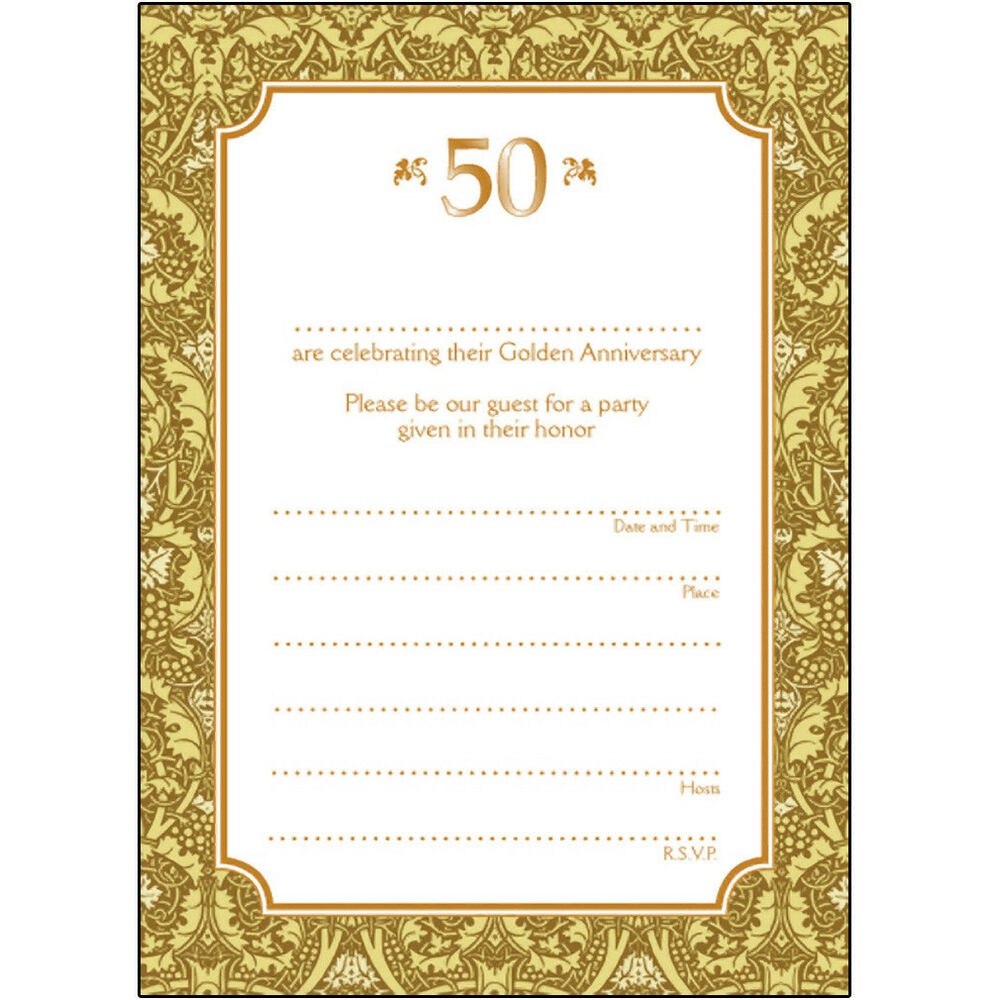 Wedding Party Invitations: Pack Of 10 Golden Wedding Anniversary Party Invitations