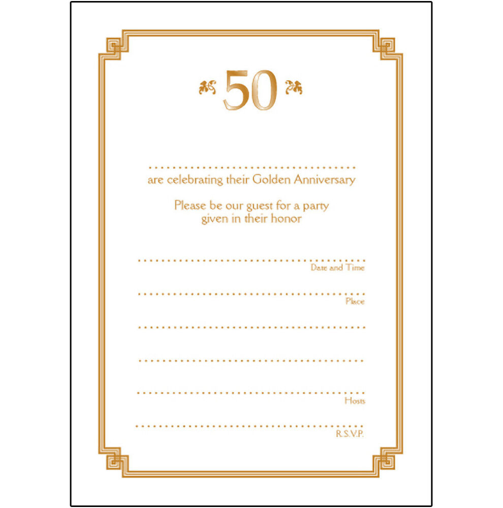 Pack Of 10 Golden Wedding Anniversary Party Invitations