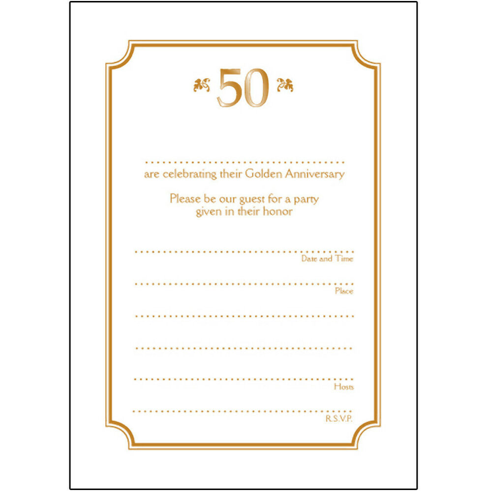 10 Year Wedding Anniversary Invitations: Pack Of 10 Golden Wedding Anniversary Party Invitations