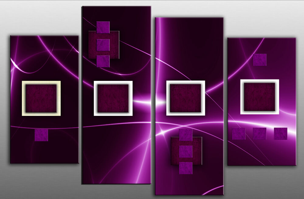 Large Plum And Purple Abstract Squares Canvas Picture