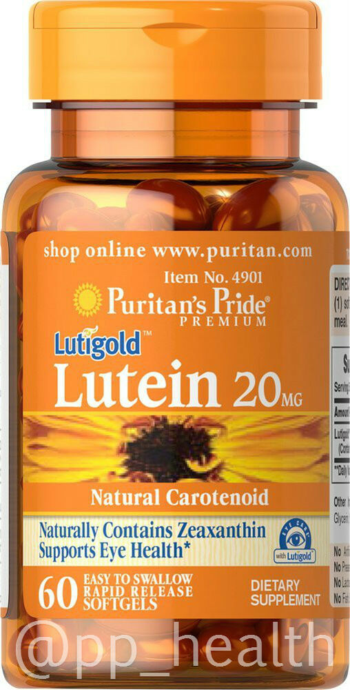 Lutein With Optilut 10 Mg: Puritan's Pride Lutigold Lutein 20 Mg 60 Softgels Support