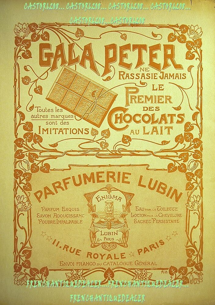 affiche publicite 1904 39x51 art nouveau chocolat gala. Black Bedroom Furniture Sets. Home Design Ideas