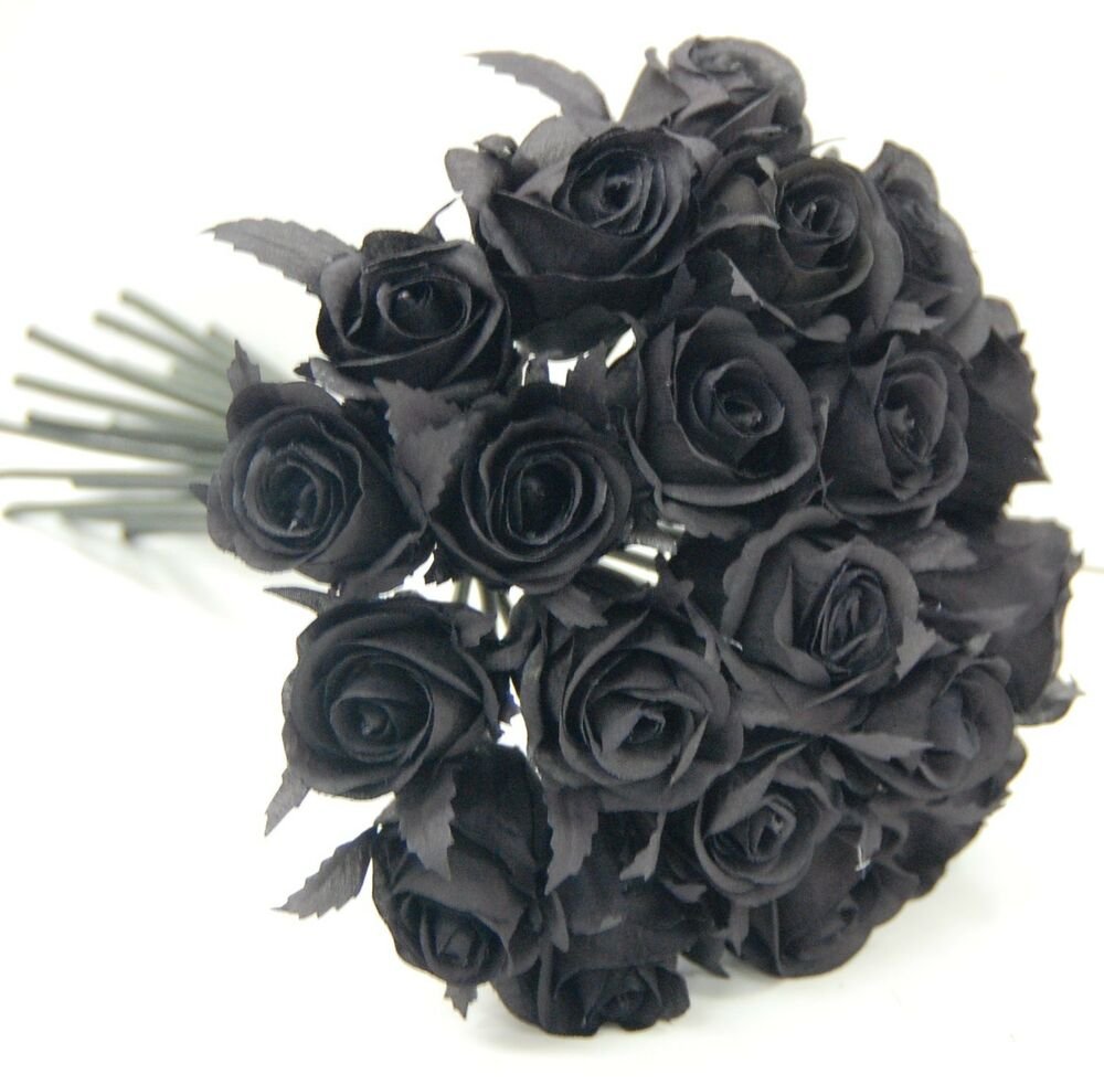 Real Vs Fake Flowers Wedding: BLACK GOTHIC ROSE POSY WEDDING BOUQUET ARTIFICIAL SILK