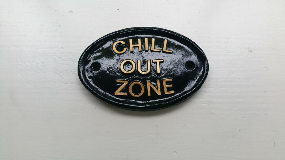 chill out zone garden sign funny koi carp fish pond ebay. Black Bedroom Furniture Sets. Home Design Ideas