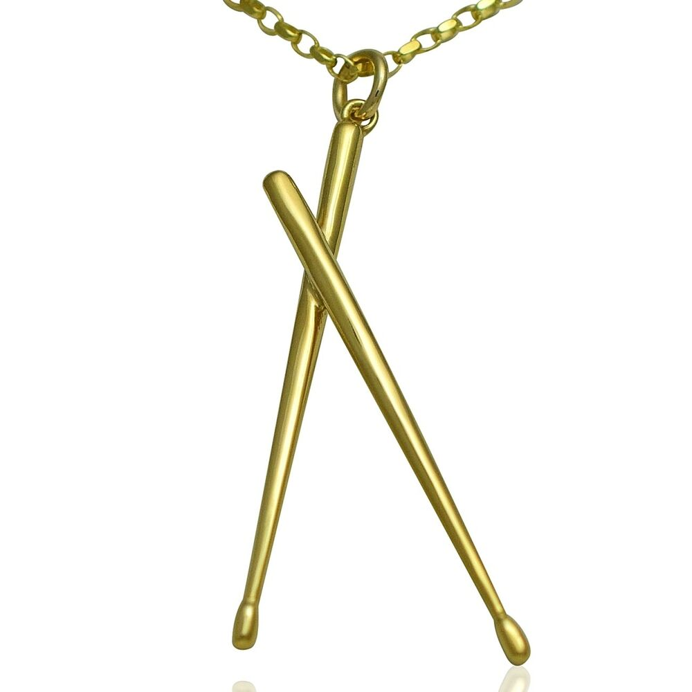 Solid 9ct Gold Drum Sticks Pendant Charm With Gold