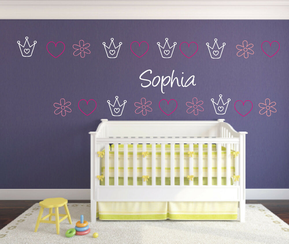 wandtattoo kind kinder kinderzimmer herz blume krone mit name namen wunschnamen ebay. Black Bedroom Furniture Sets. Home Design Ideas